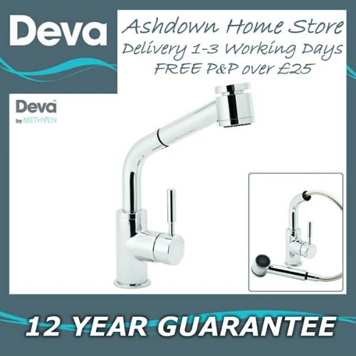 Deva VSN115 Vision Chrome Kitchen Sink Mixer Tap with Pull-out Spray Hose Rinser